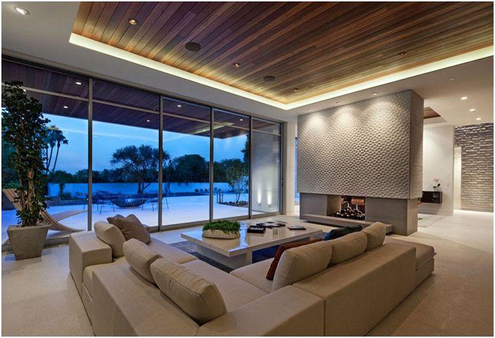 Современный потолок с прямоугольным желобом