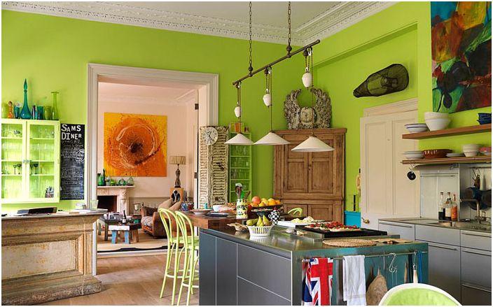 Лаймовый цвет для яркой кухни