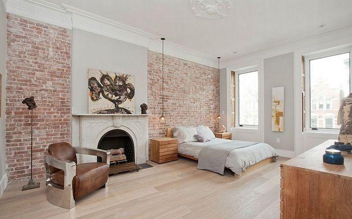 Тухлена стена за акцент в спалнята от Jensen C. Vasil Architect