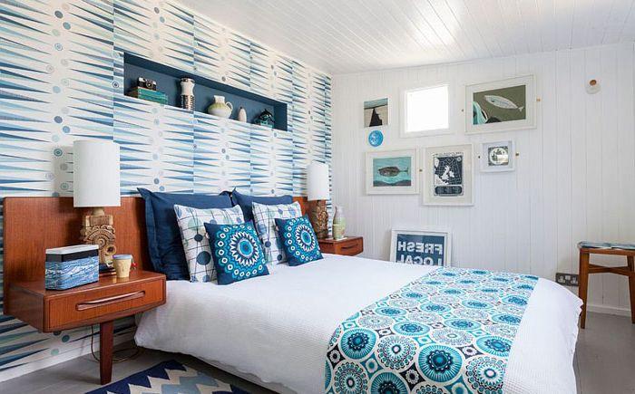 Тапет в интериора на спалнята в скандинавски стил