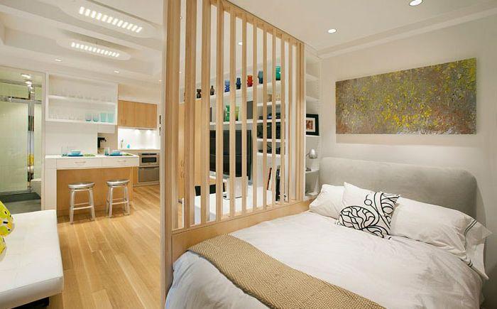 Спалня в скандинавски стил в малък апартамент от Allen + Killcoyne Architects