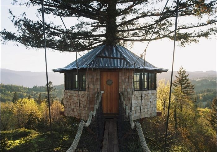 Domek na drzewie zbudowany przez American Foster Huntington.