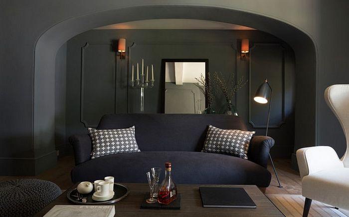 Ylellinen olohuone maskuliiniseen tyyliin