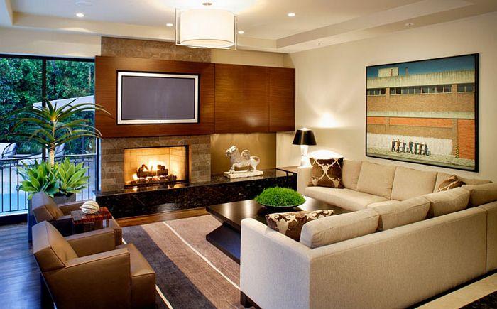 Tyylikäs olohuone, jonka suunnittelu on b + g