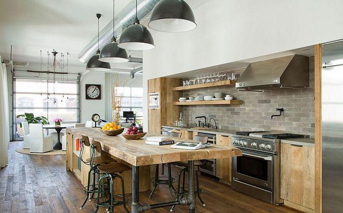 Люстры в индустриальном стиле в интерьере кухни