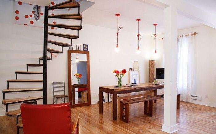 Красные светильники в интерьере кухни от Esther Hershcovich