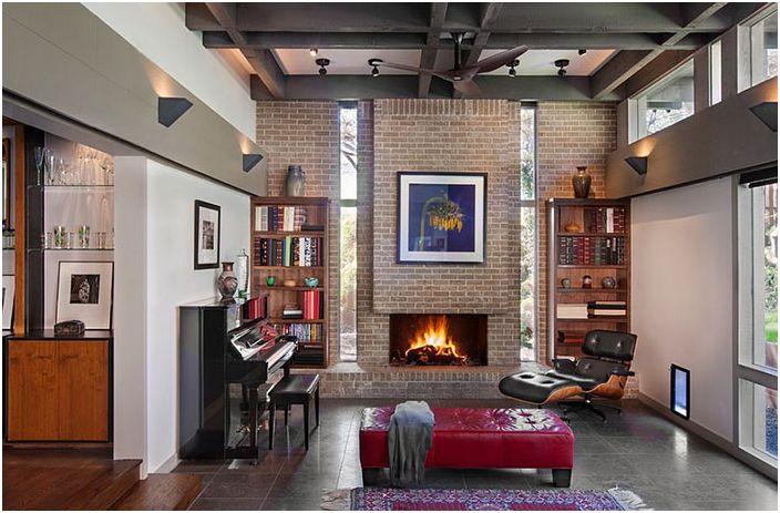 Интериор на всекидневната с камина от Steinbomer, Bramwell & Vrazel Architects