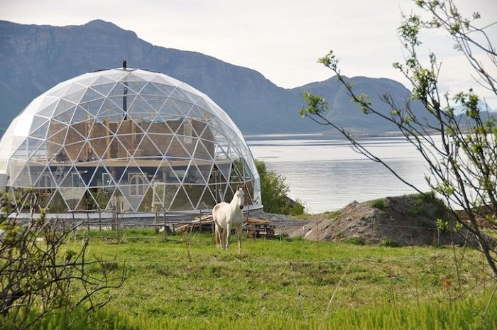 An original residential building in the form of a geodesic dome.