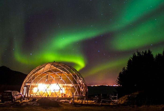 Transparent domed building.