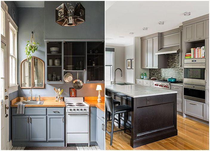 Кухненски интериор в сиви тонове