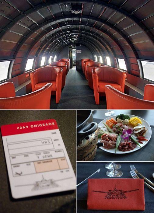 Интериорен дизайн на самолета на ресторант Runway 34.
