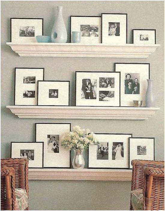 Dekoracja ścienna ze zdjęciami i listwami