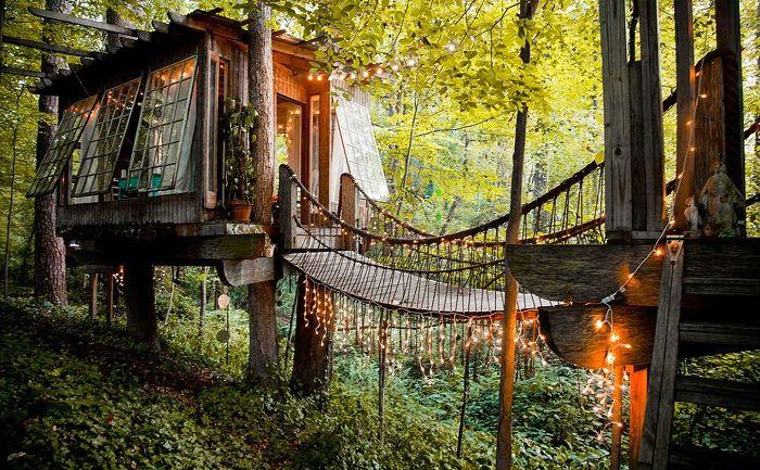 La cabane dans les arbres est un endroit isolé pour les amoureux.
