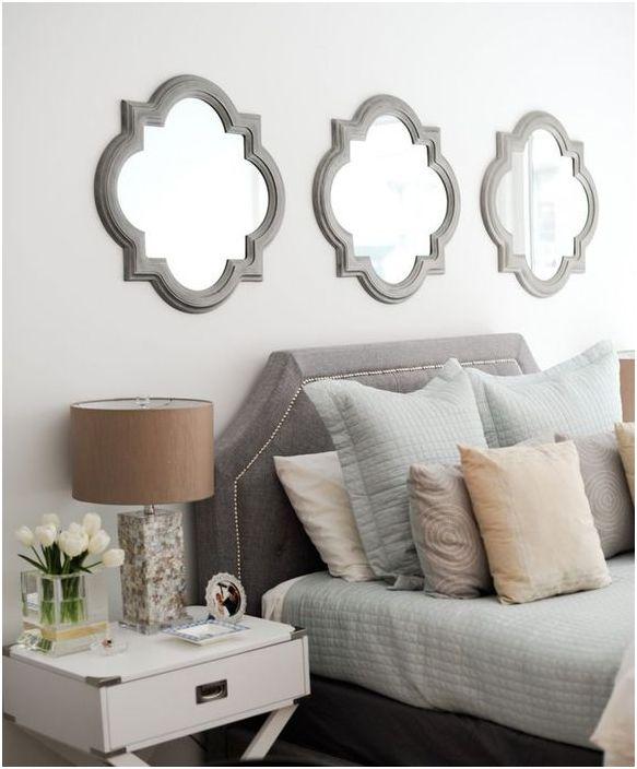 Зеркальный декор над кроватью