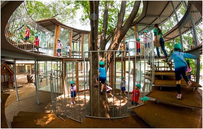 Детска градина в Япония, където децата се катерят по дървета.