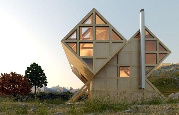 Valley House е селска къща под формата на геометрични кубчета.