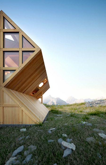 Дървена геометрична фасада.