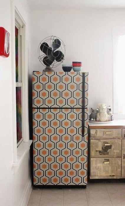 Хладилник, декориран с тапет