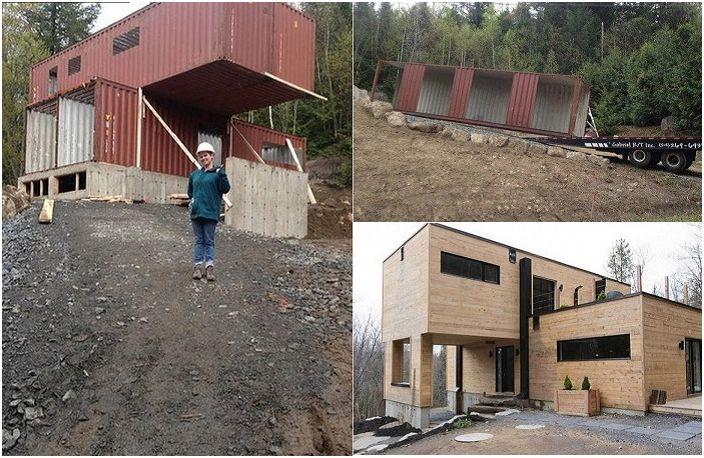 Dziewczyna sama zbudowała swój wymarzony dom.