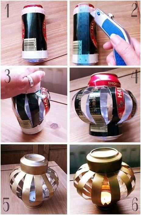 Décorer une boîte de conserve à la maison créera une superbe lampe.