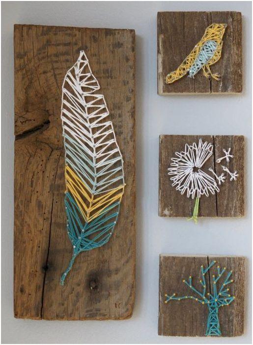 Дърво изкуство от цветни конци