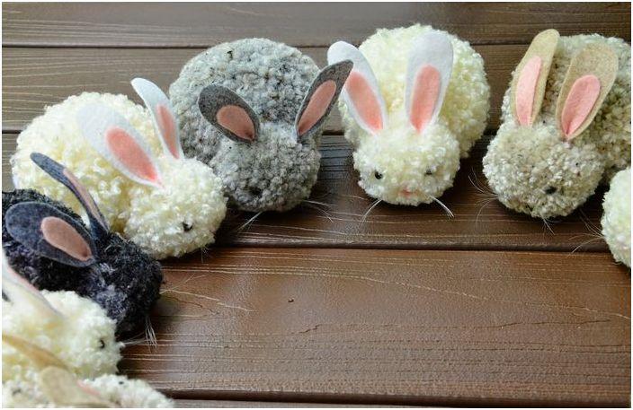 Śliczne króliczki z pomponów