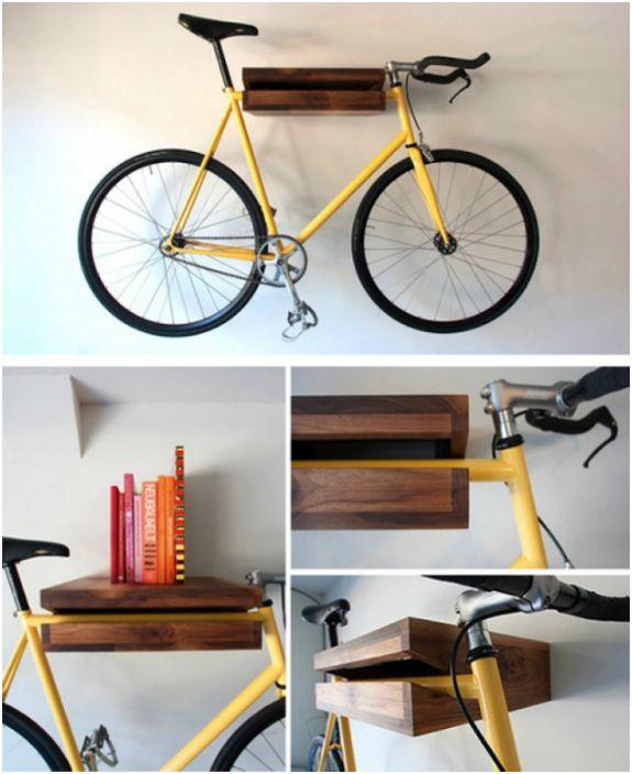 Стелаж за велосипеди, който се удвоява като рафт за книги.
