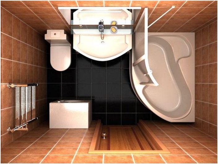 Prostokątny projekt łazienki z prysznicem