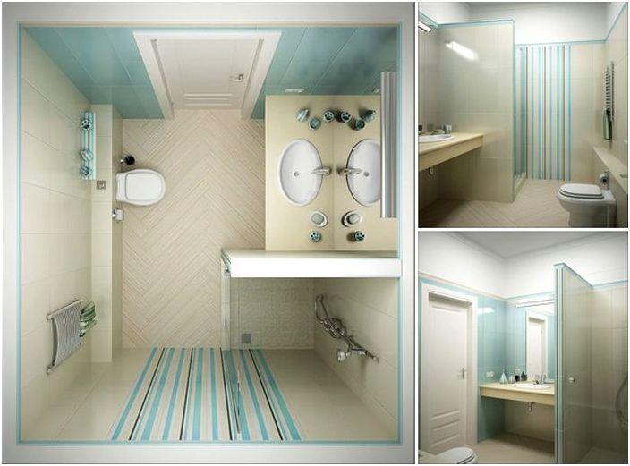 Mała połączona łazienka z kabiną prysznicową