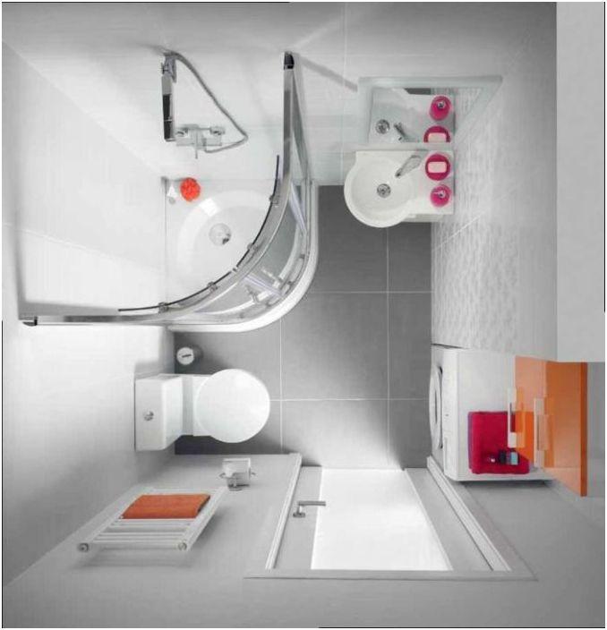 Układ małej łazienki z prysznicem