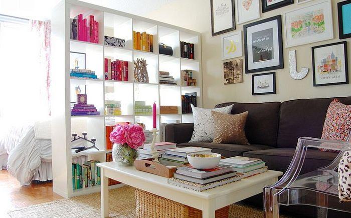 Шкаф за книги като разделителна стена
