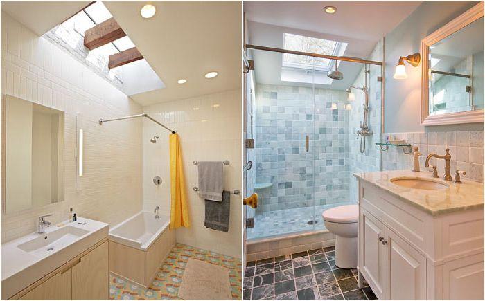Małe łazienki ze świetlikami