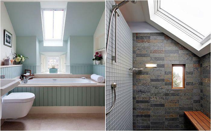 Stylowe łazienki z oknami sufitowymi