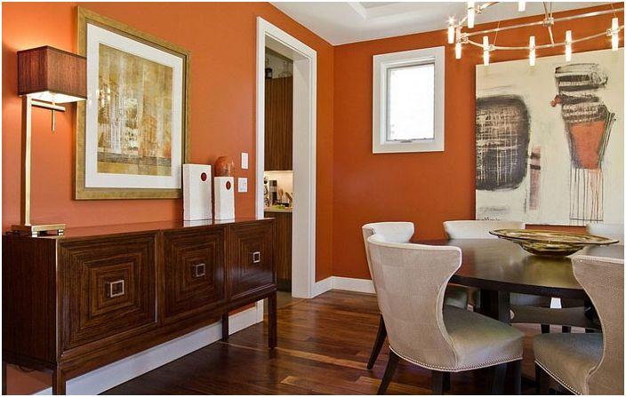 Бяла облицовка в оранжев интериор от Ejay Interiors