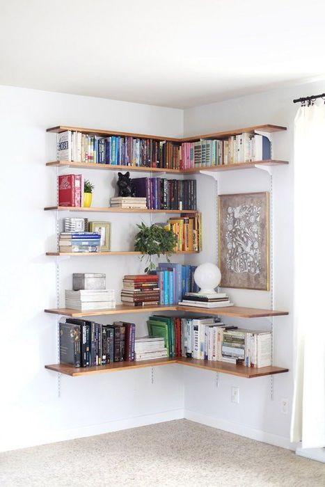 Идея №1. Отворен ъглов рафт за съхранение на книги