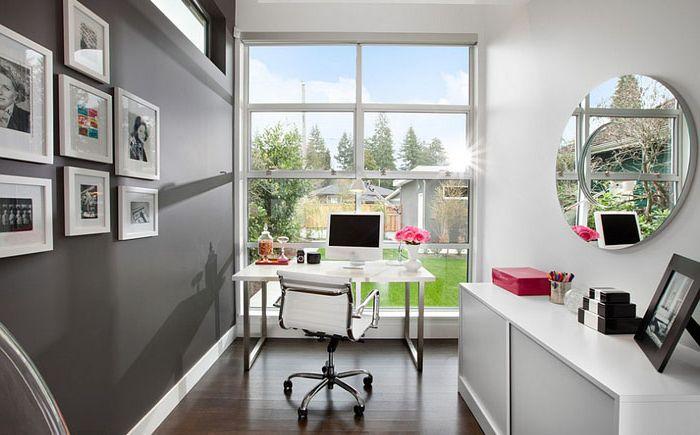 Biuro domowe w odcieniach szarości