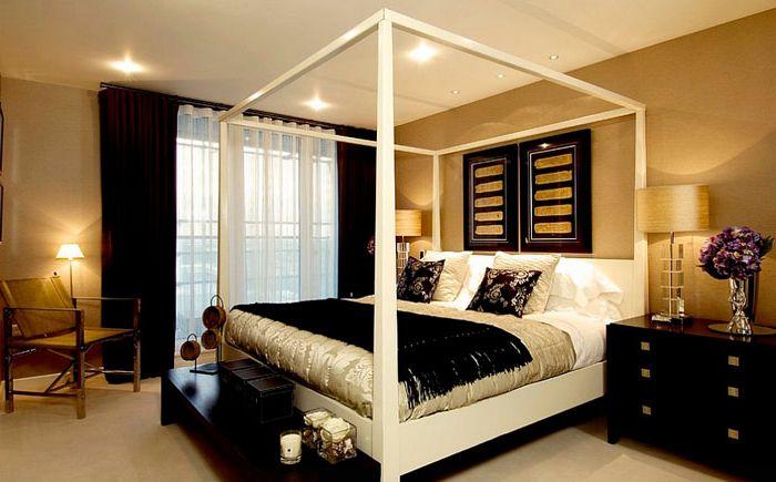 Brokat złota w luksusowej sypialni