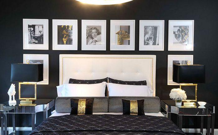 Sypialnia w kolorze czarnym ze złotymi akcentami