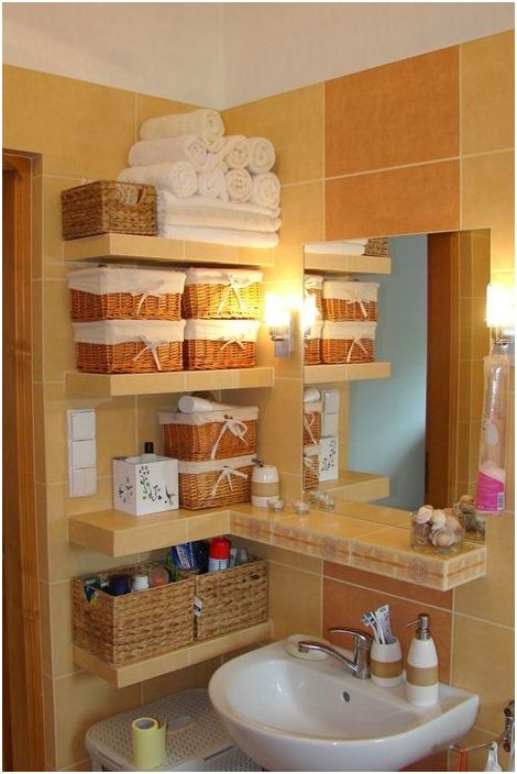 10. Системы хранения в маленькой ванной