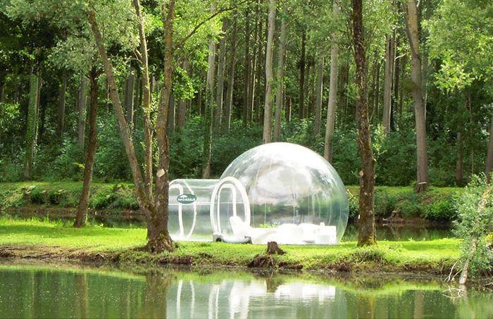 Bubble Tree to przezroczysty nadmuchiwany namiot.