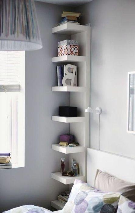 Използвайте ъгли, за да съхранявате книги и вещи.