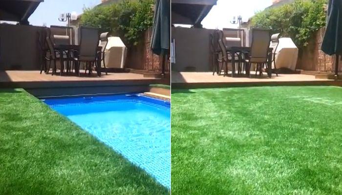 Интересно решение за малки площи: басейн и тревна площ в една и съща зона.