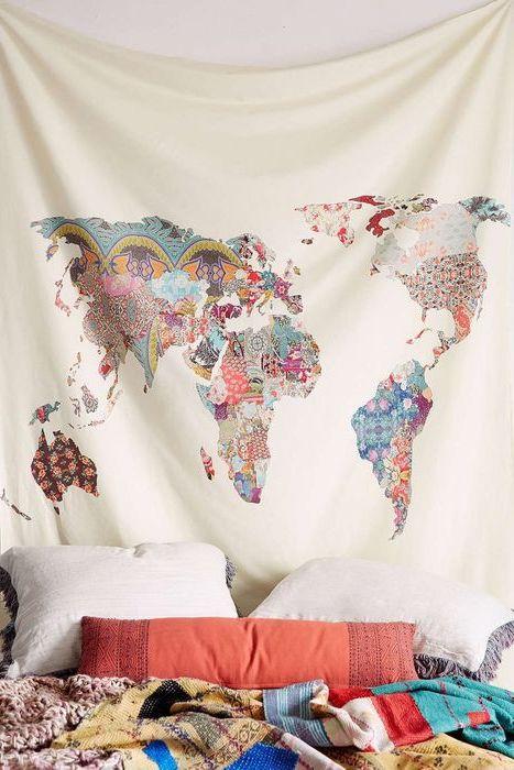 Mapa świata w patchworku