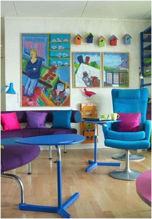 Ярките интериорни елементи идеално се вписват в дизайна на детската стая.