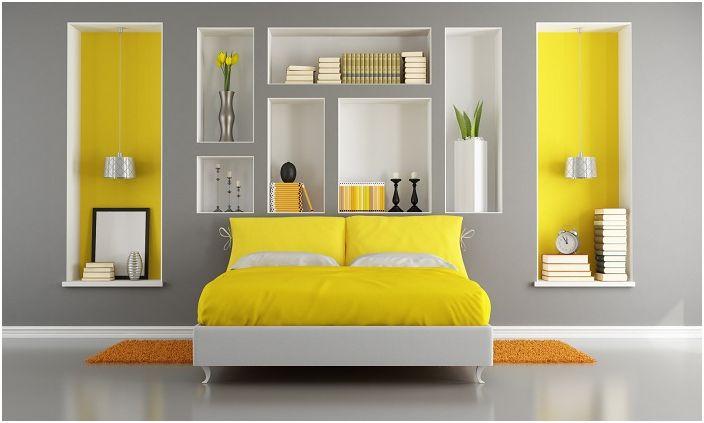 Богатата стая с ярко жълт цвят ще повлияе положително на настроението ви.