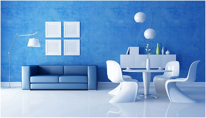 Интересна стая с необичаен интериор в сини тонове няма да ви позволи да се отегчите през есенните вечери.