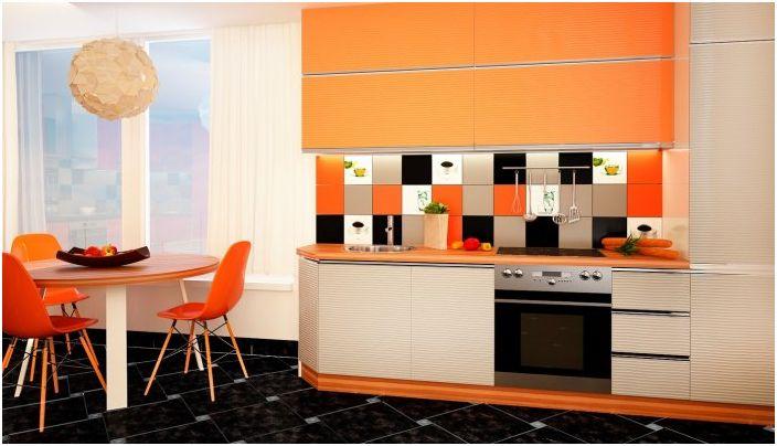 Ярката оранжева трапезария ще ви зарадва с дизайна си като узрял оранжев.