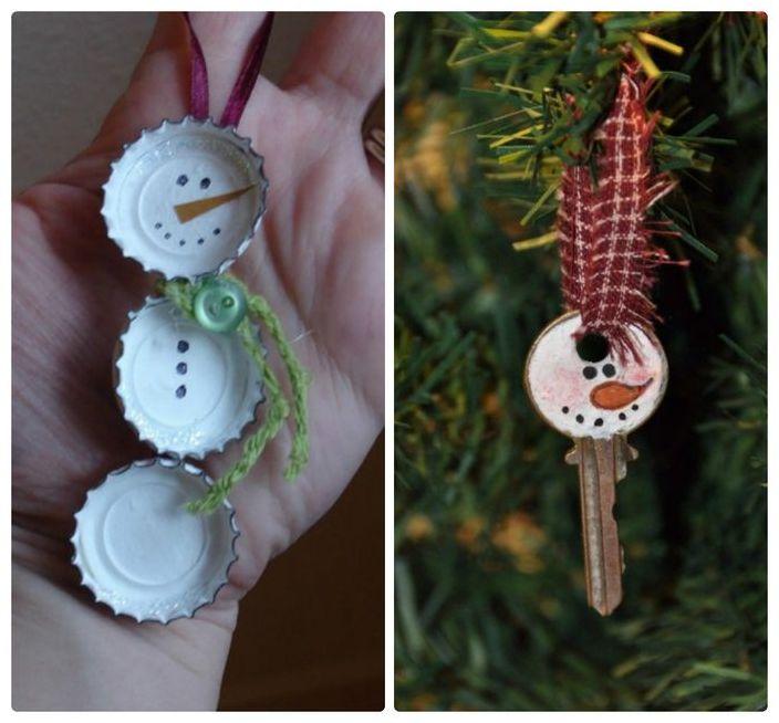 Коледни играчки от материали за скрап