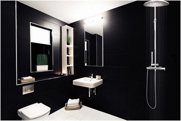Интериор на банята в черни цветове