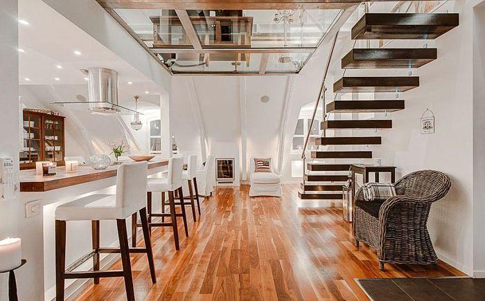 A duplex egység felszerelése tetőtérben: tippeket a skandináv tervezőktől